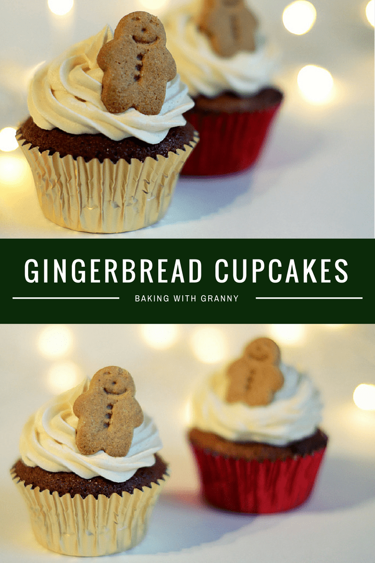 Gingerbread Cupcakes. Little spiced cupcakes, topped with a delicious festive buttercream and a mini gingerbread man.