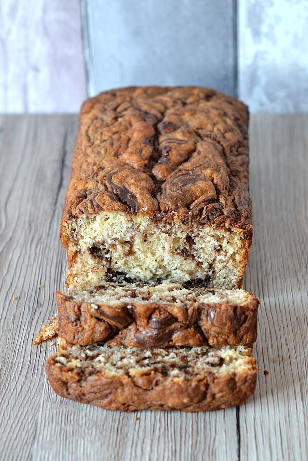 Banana Nutella Loaf - The classic banana bread with a chocolate spread twist.