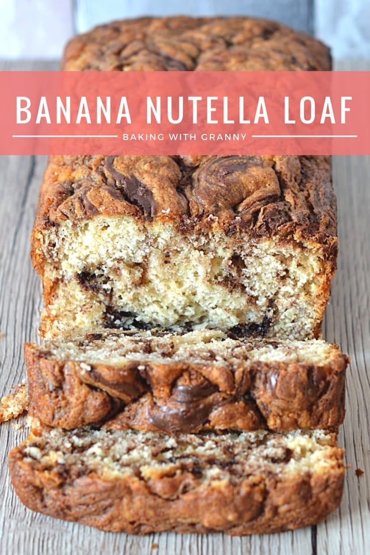 Banana Nutella Loaf - Sweet banana bread swirled with nutella. The perfect mid-morning snack.