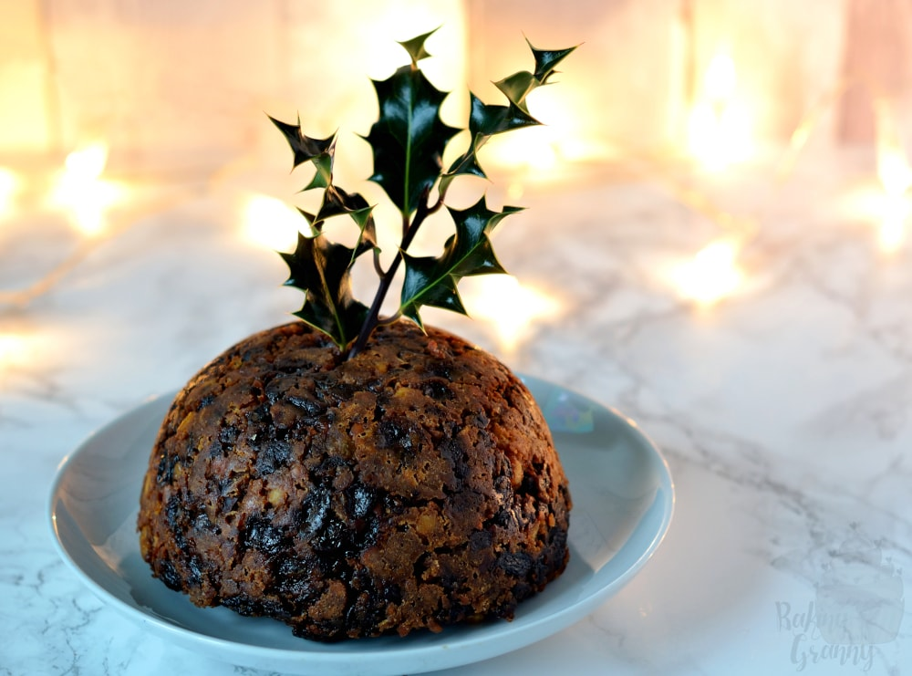 Christmas Pudding recipe from Baking with Granny. Traditional Christmas pudding recipe made with mixed fruit, dates, breadcrumbs. suet and brandy.