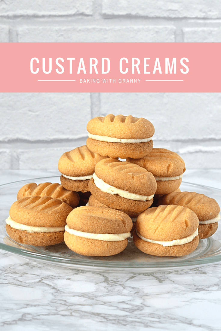 Custard Creams - Recipe for the classic British biscuits. Sweet,crumbly, custard biscuits; sandwiched with