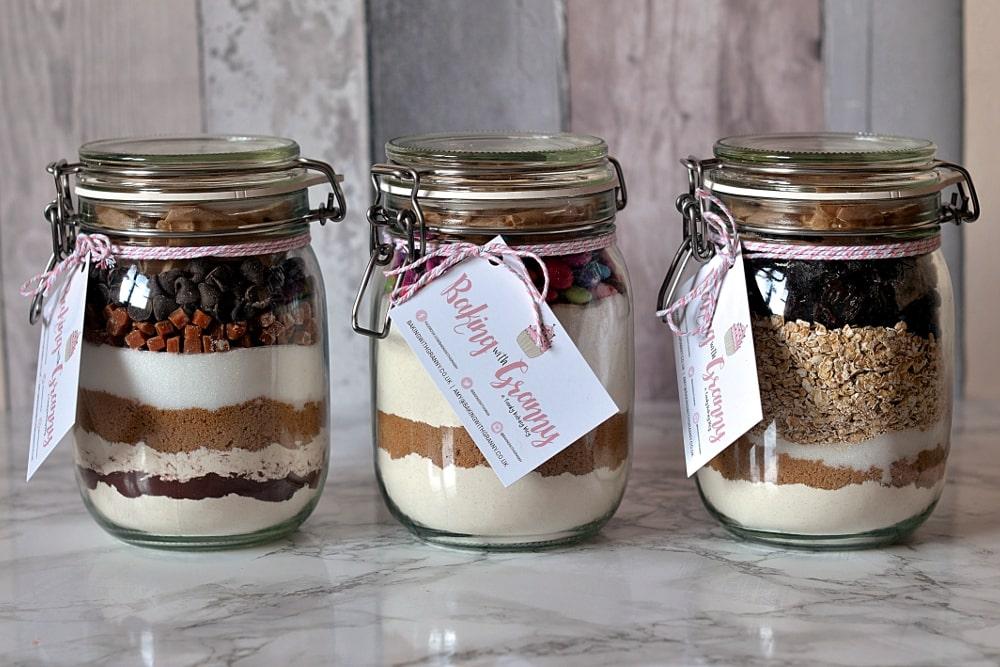 Baking gift jars by Baking with Granny. Chocolate fudge brownies, rainbow cookies and oat & raisin cookies.