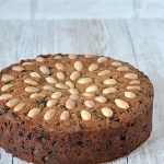 Dundee Cake - Deliciously sweet, Scottish fruit cake. Topped with blanched almonds.