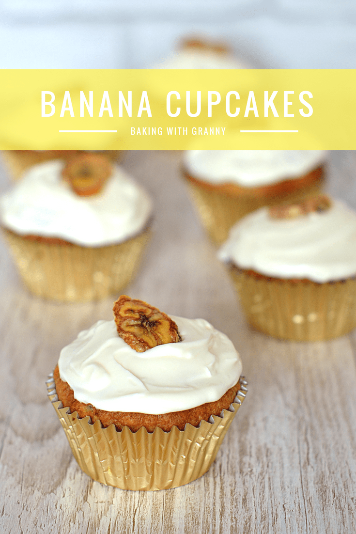 Banana Cupcakes recipe from Baking with Granny. Lovely little cakes packed with banana, topped with cream cheese icing.