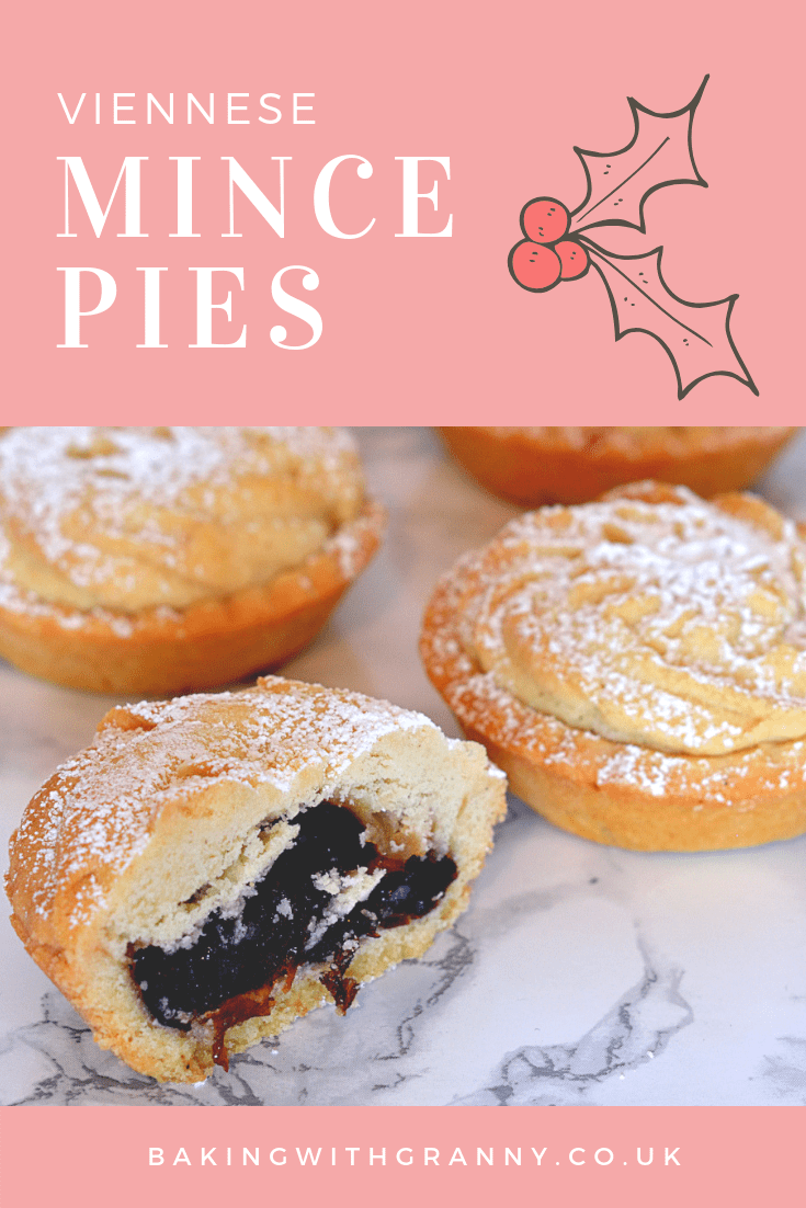 Viennese Mince Pies - Baking with Granny. Recipe for Viennese whirl topped mince pies.