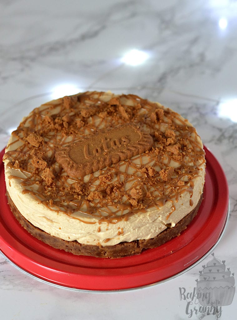 Biscoff Cheesecake recipe from Baking with Granny. Creamy, sweet and packed full of Lotus Biscoff biscuits. The perfect dessert for Christmas (or any day!).