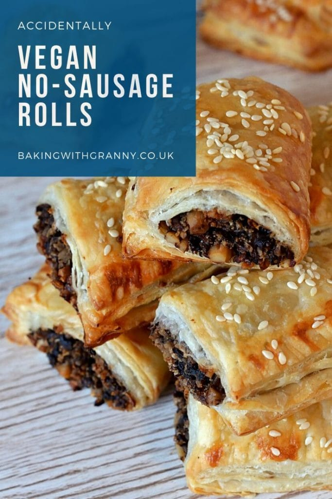 Vegan No-sausage Sausage Rolls recipe from Baking with Granny. Puffed pastry, with seasoned mushroom filling, with a bit of bite from walnuts.