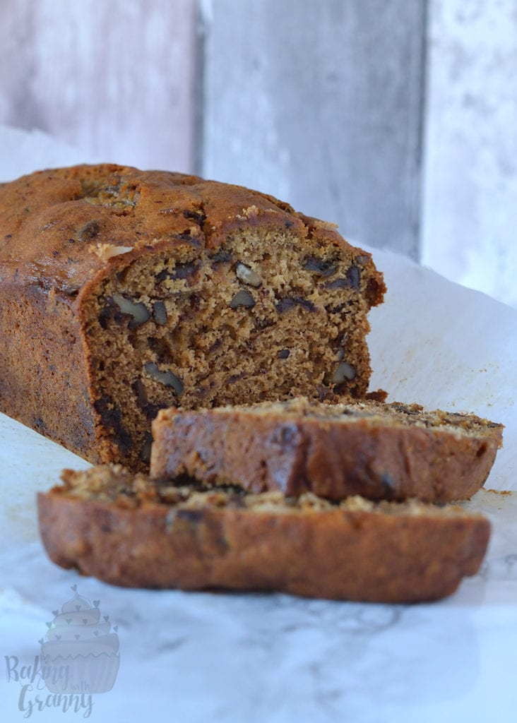 Date and Walnut loaf cake recipe from Baking with Granny.