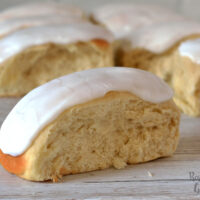 Iced Finger Buns recipe from Baking with Granny. Sweet yeast dough, topped with icing.