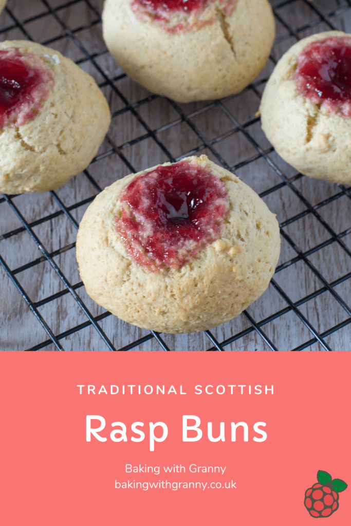 Rasp Buns recipe from Baking with Granny. Easy Scottish baking for raspberry jam buns.