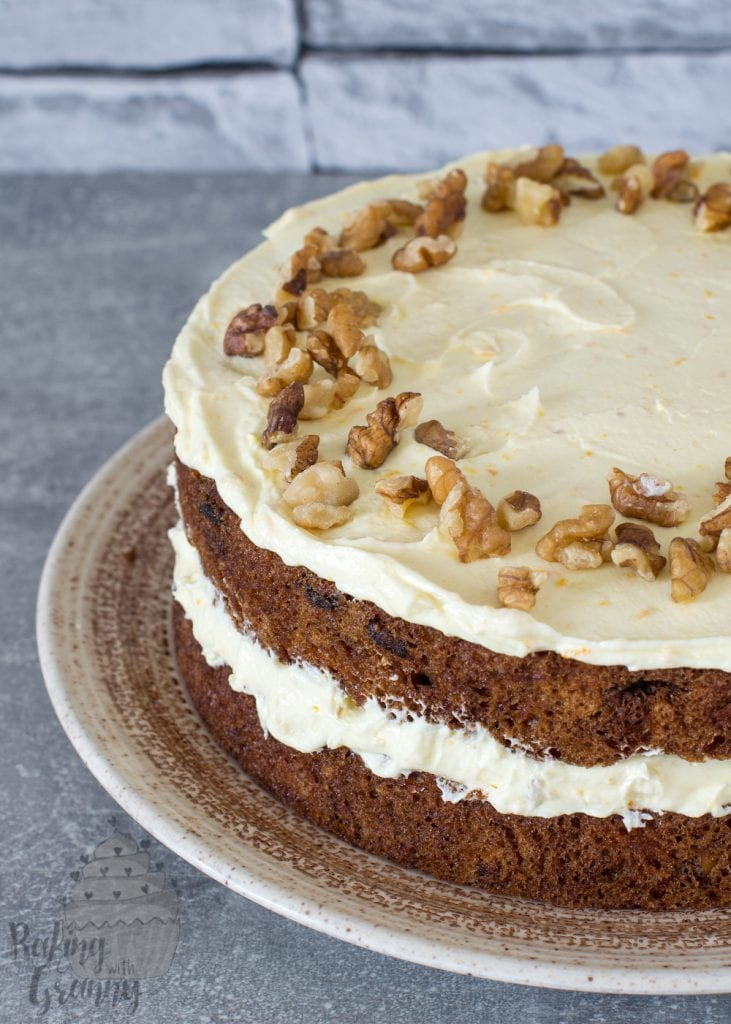 Carrot Cake recipe from Baking with Granny. UK recipe for a easy but deliciously moist carrot cake, with raisins, sultanas, walnuts and buttercream.