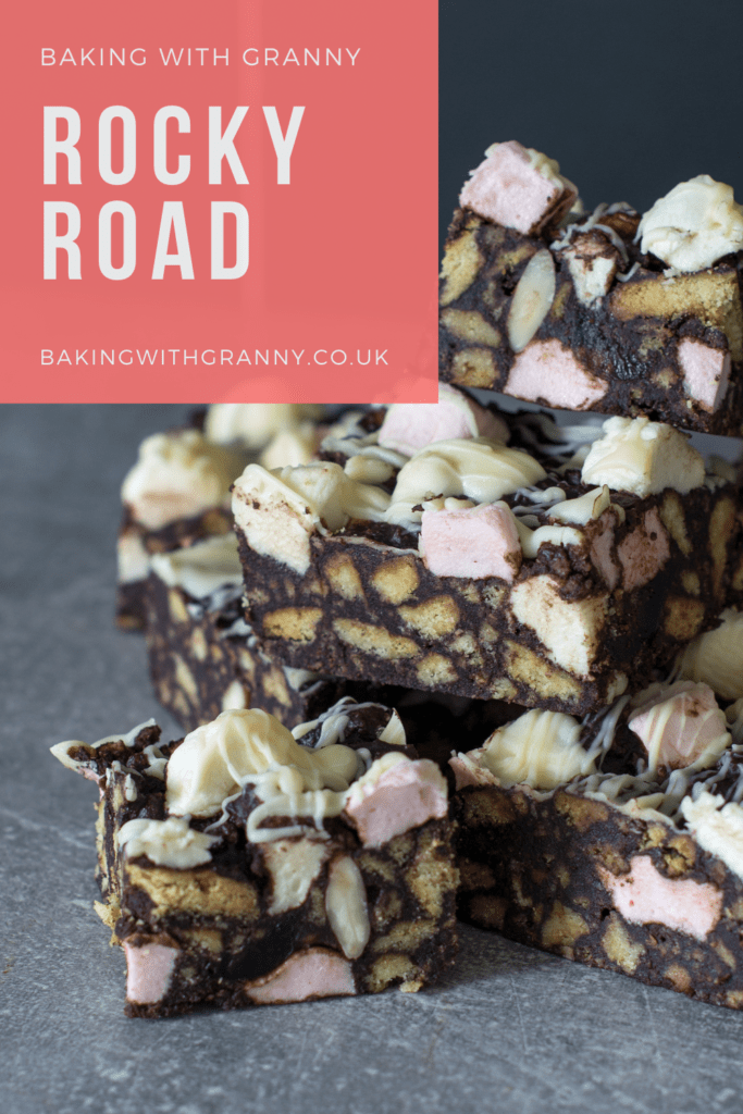 Rocky Road recipe from Baking with Granny. Traditional rocky road recipe, made with marshmallows, glace cherries, digestive biscuits and nuts.