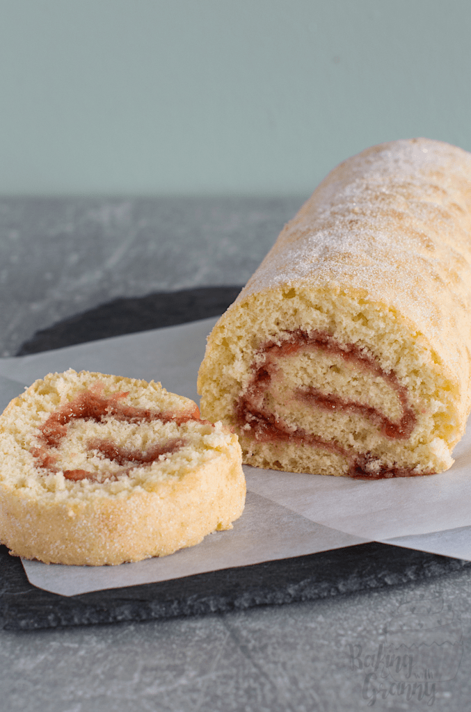 Swiss Roll recipe from Baking with Granny. Easy and delicious, sponge roll filled with strawberry jam.