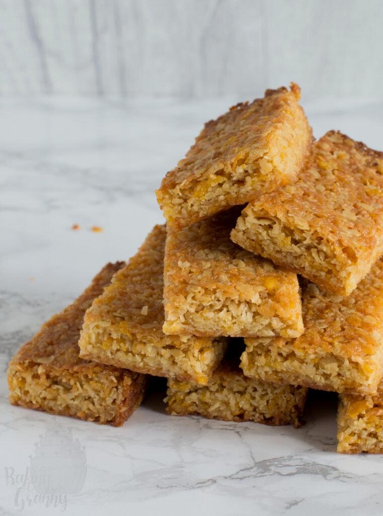 Honey Slice traybake. Recipe from Baking with Granny, classic home baking.